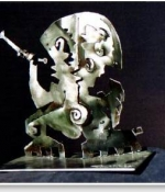 Flute Player Metal Sculpture Sold