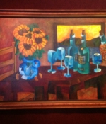 Still-Life-with-Sunflowers,-Table,-Chair-and-Wine-35x53